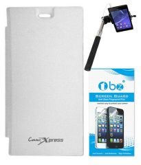 Tbz Flip Cover For Micromax Canvas Xpress A99-White With Screen Guard & Selfie Stick Monopod With Aux