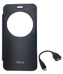 Tbz Flip Cover Case For Asus Zenfone 2 Laser -Ze550Kl With Otg Cable -Black