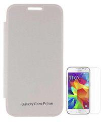 Tbz Premium Flip Cover Case -White For Samsung Galaxy Core Prime With Screen Guard