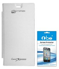Tbz White Premium Flip Cover Case For Micromax Canvas Xpress With Hotknot A99 And Screen Guard