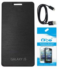 Tbz Flip Cover For Samsung Galaxy J5 With Screen Guard And Data Cable - Black