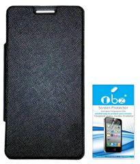 Tbz Premium Flip Cover Case For Micromax Canvas Nitro 2 E311 With Tempered Screen Guard -Black
