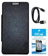 Tbz Premium Flip Cover Case For Micromax Canvas Nitro 2 E311 With Tempered Screen Guard And Data Cable -Black