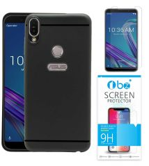 TBZ Soft TPU Slim Back Case Cover for Asus Zenfone Max Pro (M1) with Tempered Screen Guard -Black