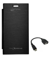 Tbz Flip Cover For Micromax Canvas Xpress 4G Q413-Black With Otg Cable