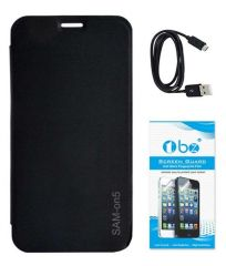Tbz Flip Cover For Samsung Galaxy On5 With Screen Guard And Data Cable -Black