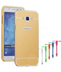 TBZ Metal Bumper Acrylic Mirror Back Cover Case for Samsung Galaxy J7 Prime with USB Flexible Fan - Golden