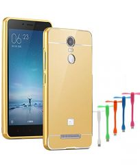 TBZ Metal Bumper Acrylic Mirror Back Cover Case for Xiaomi Redmi Note 3 with USB Flexible Fan - Golden