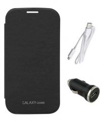 TBZ Flip Cover Case for Samsung Galaxy Grand Duos I9082 with Car Charger and Data Cable -Black