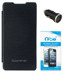 TBZ Flip Cover Case For Micromax Canvas Nitro A310 With Car Charger And Screen Guard -Black