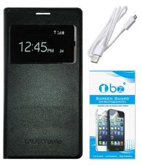 TBZ Premium Leather Window Flip Cover Case for Samsung Galaxy Grand Duos i9082 with Screen Guard and Data Cable -Black