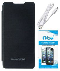 TBZ Flip Cover Case For Micromax Canvas Nitro A310 With Data Cable And Screen Guard -Black