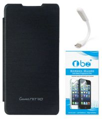 TBZ Flip Cover Case For Micromax Canvas Nitro A310 With Flexible USB LED Light Lamp And Screen Guard -Black