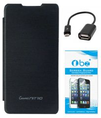 TBZ Flip Cover Case For Micromax Canvas Nitro A310 With OTG Cable And Screen Guard -Black