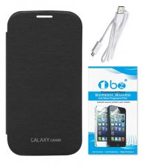 TBZ Flip Cover Case for Samsung Galaxy Grand Duos I9082 with Tempered Screen Guard And Data Cable - Black