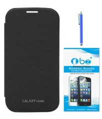 TBZ Flip Cover Case for Samsung Galaxy Grand Duos I9082 with Tempered Screen Guard And Sylus - Black
