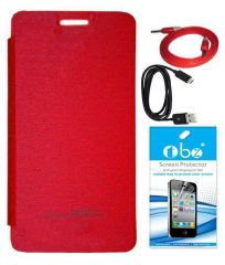 Tbz Flip Cover Case For Micromax Canvas Knight 2 E471 With Screen Guard And Data Cable And Aux Cable- Red