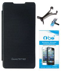 TBZ Flip Cover Case For Micromax Canvas Nitro A310 With Multi Stand Tablet/Phone Holder And Screen Guard -Black