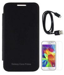 Tbz Premium Flip Cover Case -Black For Samsung Galaxy Core Prime With Screen Guard And Data Cable