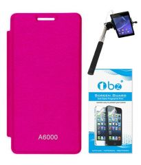 Tbz Flip Cover For Lenovo A6000-Pink With Screen Guard & Selfie Stick Monopod With Aux
