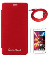 Tbz Flip Cover Case For Micromax Canvas Spark Q380 With Screen Guard And Aux Cable- Red