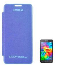 Tbz Premium Flip Cover Case Royal Blue For Samsung Galaxy Grand Prime G530H With Screen Guard