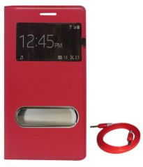 Tbz Flip Cover Case For Samsung Galaxy Grand Prime G530H With Aux Cable - Red