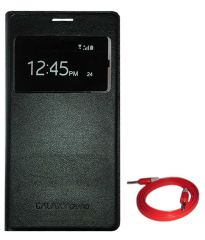 TBZ Call View Flip Cover Case for Samsung Galaxy Grand Duos i9082 with Aux Cable - Black