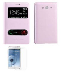 TBZ Call View Flip Cover Case for Samsung Galaxy Grand Duos i9082 with Screen Guard - Pink