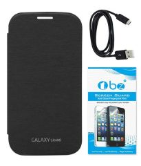 Tbz Flip Cover Case For Samsung Galaxy Grand Duos I9082 With Screen Guard And Data Cable - Black