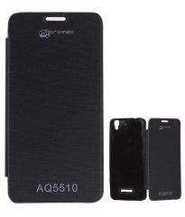 Tbz Black Premium Flip Cover Case For Micromax Yu Yureka Aq5510