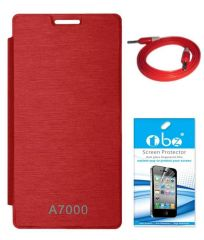 Tbz Flip Cover Case For Lenovo A7000 With Screen Guard And Aux Cable -Red