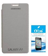 Tbz Premium Flip Cover Case -White For Samsung Galaxy A5 With Screen Guard