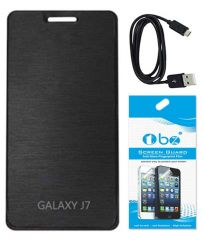 Tbz Flip Cover For Samsung Galaxy J7 With Screen Guard And Data Cable - Black