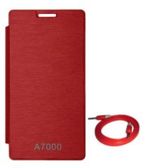 Tbz Flip Cover Case For Lenovo A7000 With Aux Cable -Red