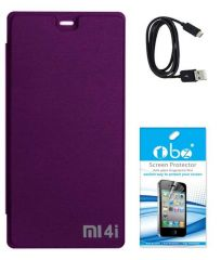 Tbz Flip Cover Case For Xiaomi Mi 4I With Tempered Screen Guard And Data Cable -Purple