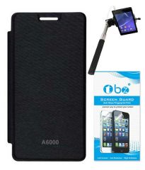 Tbz Flip Cover For Lenovo A6000-Black With Screen Guard & Selfie Stick Monopod With Aux