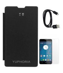 Tbz Flip Cover For Micromax Yu Yuphoria With Screen Guard And Data Cable - Black