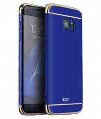 TBZ 3 in 1 Anti-Scratch Fingerprint Shockproof Electroplate Metal Texture Armor PC Hard Back Case Cover for Samsung Galaxy J7 Prime-Blue
