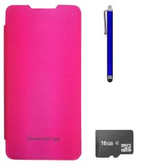 TBZ Flip Cover Case For Micromax Canvas Nitro A310? With 16GB MicroSD And Stylus -Pink