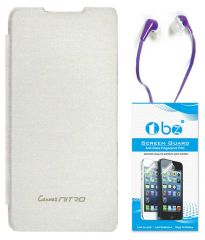 TBZ Flip Cover Case For Micromax Canvas Nitro A310 With Earphone And Screen Guard -White