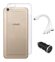 TBZ Transparent Silicon Soft TPU Slim Back Case Cover for Vivo V5 with Car Charger and 5 in 1 Multi charging USB Cable - Black