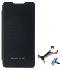 TBZ Flip Cover Case For Micromax Canvas Nitro A310 With Multi Stand Tablet/Phone Holder -Black