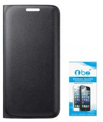 TBZ PU Leather Flip Cover Case For Micromax Canvas 6 Pro E484 With Tempered Screen Guard -Black