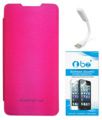 TBZ Flip Cover Case For Micromax Canvas Nitro A310 With Flexible USB LED Light Lamp And Tempered Screen Guard -Pink