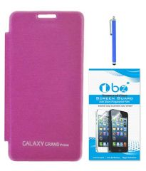TBZ Flip Cover Case For Samsung Galaxy Grand Prime G530h With Tempered Screen Guard And Sylus - Pink