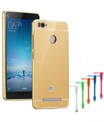 TBZ Metal Bumper Acrylic Mirror Back Cover Case for Xiaomi Redmi 3s Prime with USB Flexible Fan - Golden