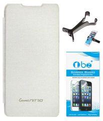 TBZ Flip Cover Case For Micromax Canvas Nitro A310 With Multi Stand Tablet/Phone Holder And Tempered Screen Guard -White