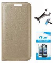 TBZ PU Leather Flip Cover Case for Motorola Moto M with Multi Stand Tablet/Phone Holder and Tempered Screen Guard - Golden
