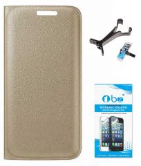 TBZ PU Leather Flip Cover Case for Micromax Canvas 6 Pro E484 with Multi Stand Tablet/Phone Holder and Tempered Screen Guard - Golden